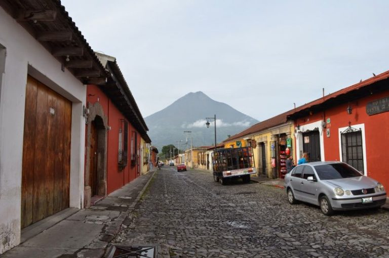 antigua street and volcano
