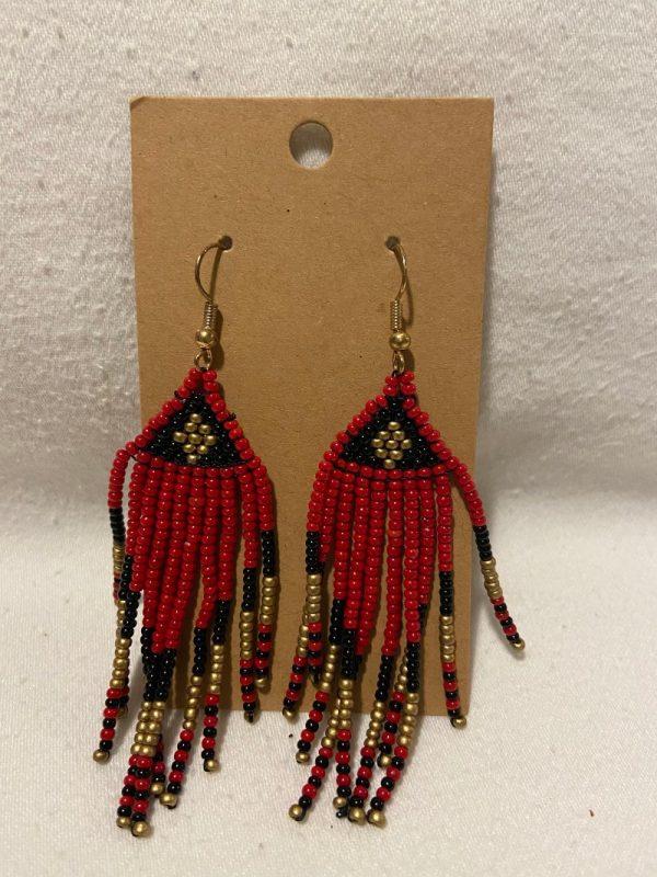 red beaded pendant earrings